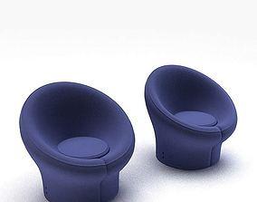 3D Blue Armchairs