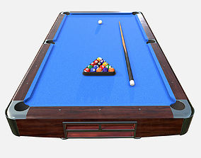 low poly PBR American Pool Table 3D asset