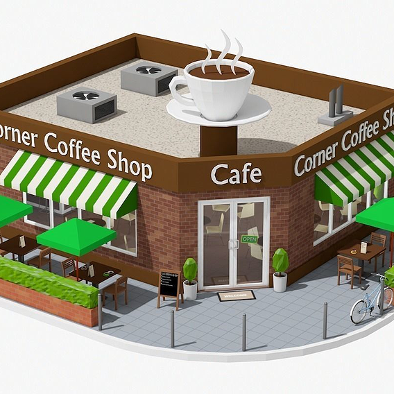 Low Poly Corner Coffee Shop