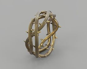 Ring crown of thorns 3D print model gold