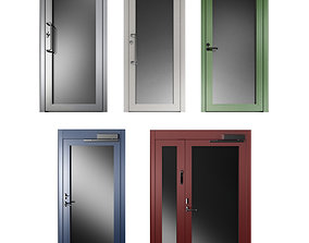 Metal swing fire doors swinging 3D