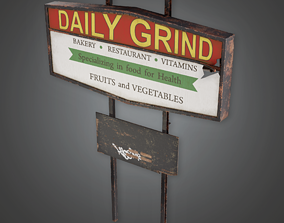 3D asset PAS - Post Apocalyptic Abandoned Sign 03 - PBR 1