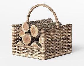 3D model Round Rattan Log Basket Rectangular