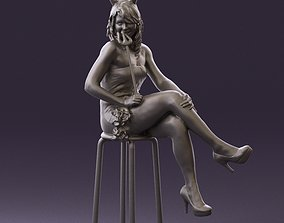 Devils bad girl seat on chair 0862 3D Print