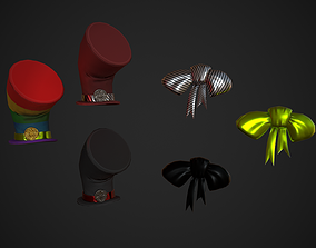 Stylized Bow Tie and Hat Variations 3D model