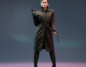 Model in Leather Raincoat Holding Belt low-poly