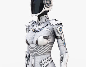 3D White Female Cyborg
