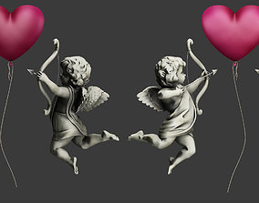 3D angels and hearts