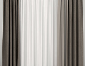 Brown curtains with tulle 3D model fabric