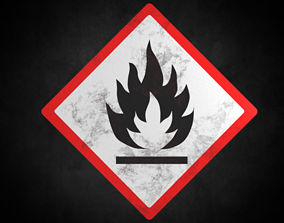 Flammable warning sign 3D model