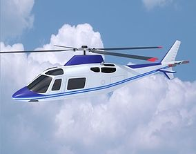 3D model Agusta westland aw109 civil helicopter