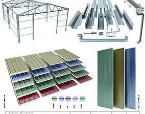 sloped roof-sandwich panel 3D model gutter