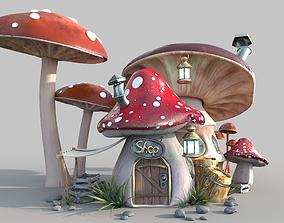 Mushroom house 3D model PBR