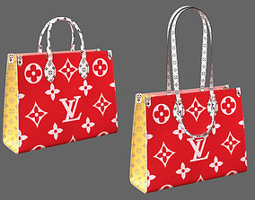 3D Louis Vuitton Onthego Giant Monogram Red Pink Leather