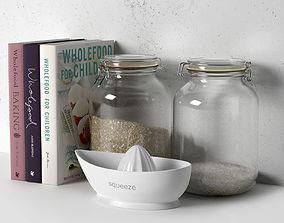 3D model Books Jars and Plain Juicer