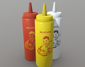 3D asset Ketchup - Mustard and Mayo