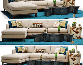 3D Westin Sectional and Mesa Coffee Table Set