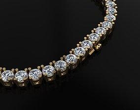 Diamond Tennis Necklace 4mm 3D printable model