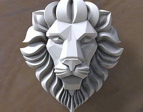 3D model low-poly lion head danger
