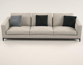 Silver sofa 3D model