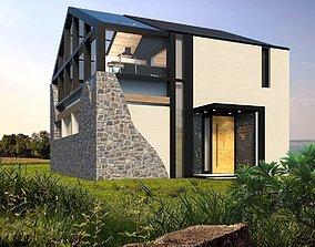 modern house on 2 floors 3D asset