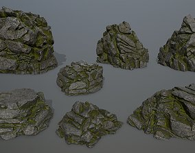 forest rocks 3D model game-ready