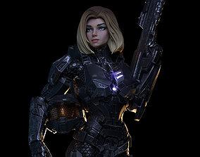 Female Halo Spartan Armored 3D print model