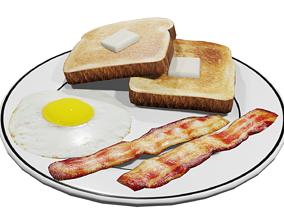 3D model Plate of Breakfast