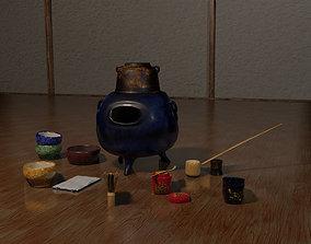Set for Japanese tea ceremony 3D asset