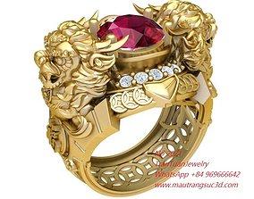 2071 Diamond Unicorn Ring New Design 3D printable model 1