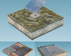Solar panels in island 3D model