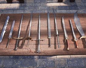 Fantasy Paladin Weapons 3D asset
