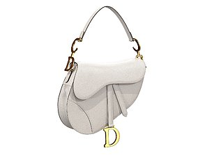 3D model Dior Saddle Bag White Grained Leather