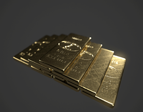 3D model Precious Metal Ingot Set