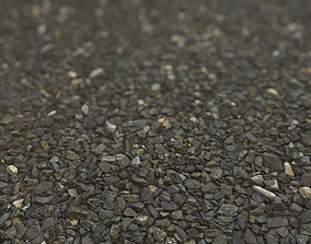 3D asset Dark Gravel RailWay Gravel Texture