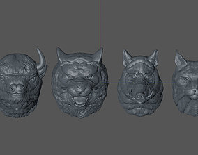 set of animal heads 3D printable model