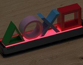 Glowing statuette lamp logo Sony playstation 3D print