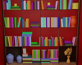 80 books with a shelf 3D model
