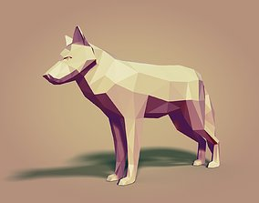 Cartoon Wolf Statue - Low Poly 3D model