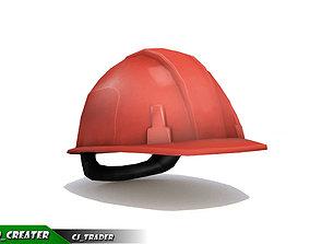Worker Helmet Red Safety Helmet Lowpoly 3d game-ready