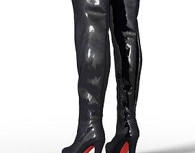 Boot Tighhigh Kinky Latex Female Footwear 3D asset