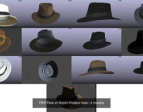 3D model PBR Pack of Stylish Fedora Hats
