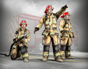 3D Firefighter Characters of NY low-poly