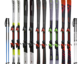 3D asset Skis and poles