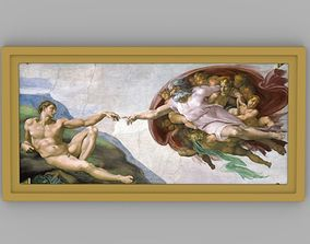 Creation of Adam painting by Michelangelo for 3D printing