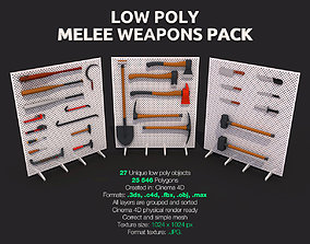 3D model low-poly Low Poly Melee Weapons Pack