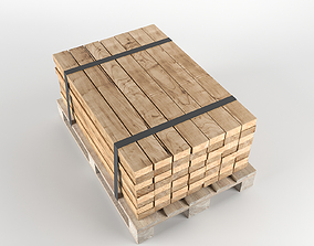 crate Timber on pallet 3D model