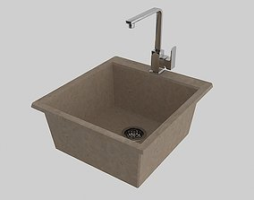 3D model Artificial stone Kitchen Sink and Mixer