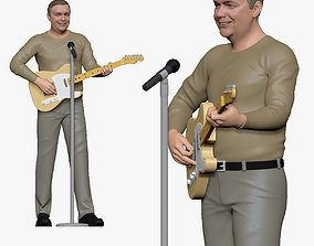 001170 guitarist with telecaster guitar 3d print ready
