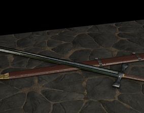 3D asset Sword and Scabbard Set Low Poly